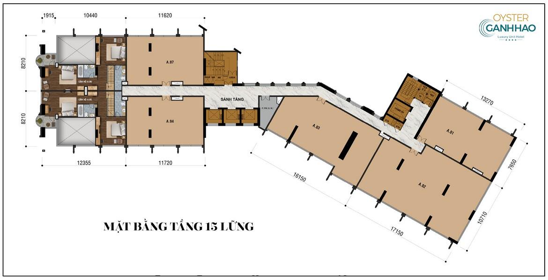 Mặt bằng tầng 15 lửng  dự án căn hộ Condotel Oyster Gành Hào Đường 82 Trần Phú chủ đầu tư Vietpearl Group
