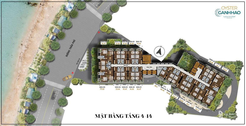Mặt bằng tầng 4 - 14 dự án căn hộ Condotel Oyster Gành Hào Đường 82 Trần Phú chủ đầu tư Vietpearl Group