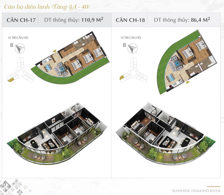 Thiết kế chi tiết căn hộ số 17 và 18 dự án Sunshine Diamond River Quận 7 – Liên hệ 0973.098.890 báo giá căn này