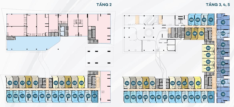 Mặt bằng tầng 2,3,4,5 dự án căn hộ du lịch condotel The Sóng Vũng Tàu