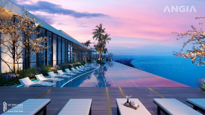 Hồ Mây tại tầng 35 view hồ bơi và toàn cảnh Vũng Tàu tại căn hộ du lịch condotel The Sóng Vũng Tàu