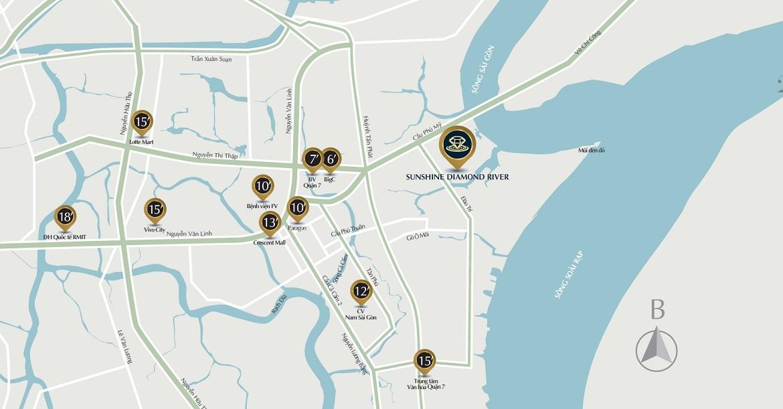 Vị trí địa chỉ dự án căn hộ chung cư Sunshine Diamond River Quận 7
