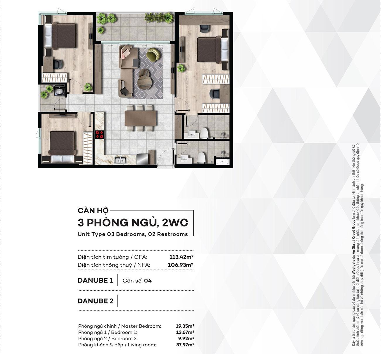 Thiết kế chi tiết căn hộ 3PN,2WC dự án West Gate Bình Chánh – Liên hệ 0942.098.890 nhận báo giá căn hộ này