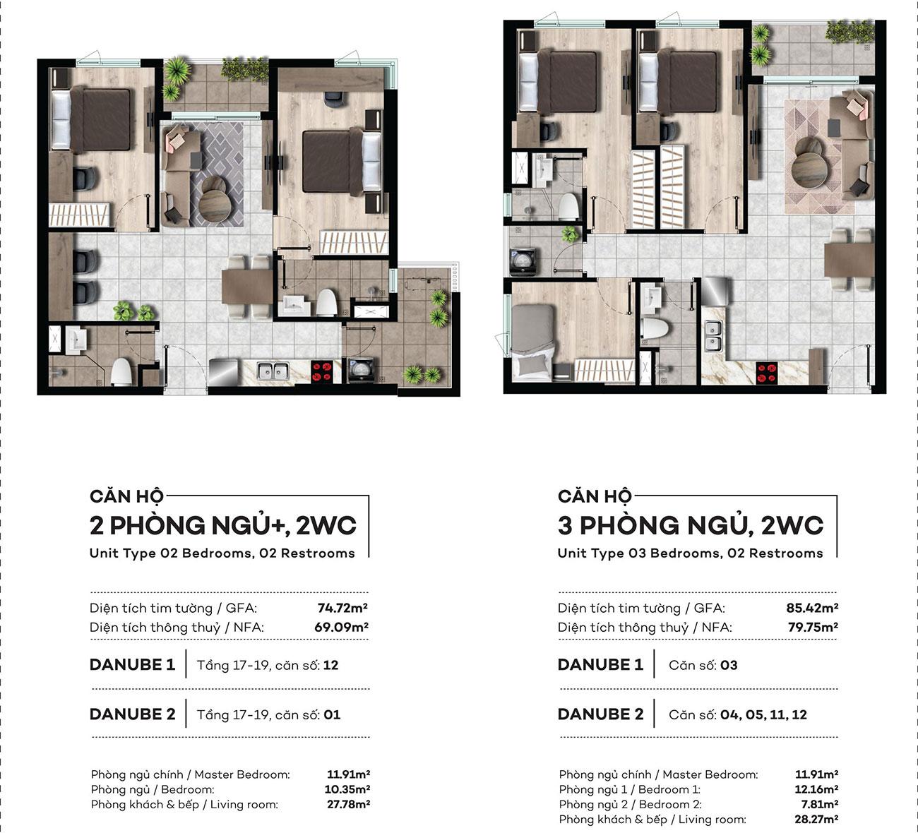 Thiết kế chi tiết căn hộ 2 và 3 PN,2WC dự án West Gate Bình Chánh – Liên hệ 0942.098.890 nhận báo giá căn hộ này