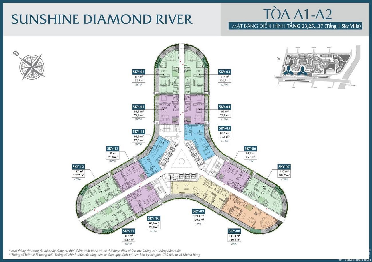 Mặt bằng tòa A1 A2 dự án căn hộ Sunshine Diamond River Quận 7