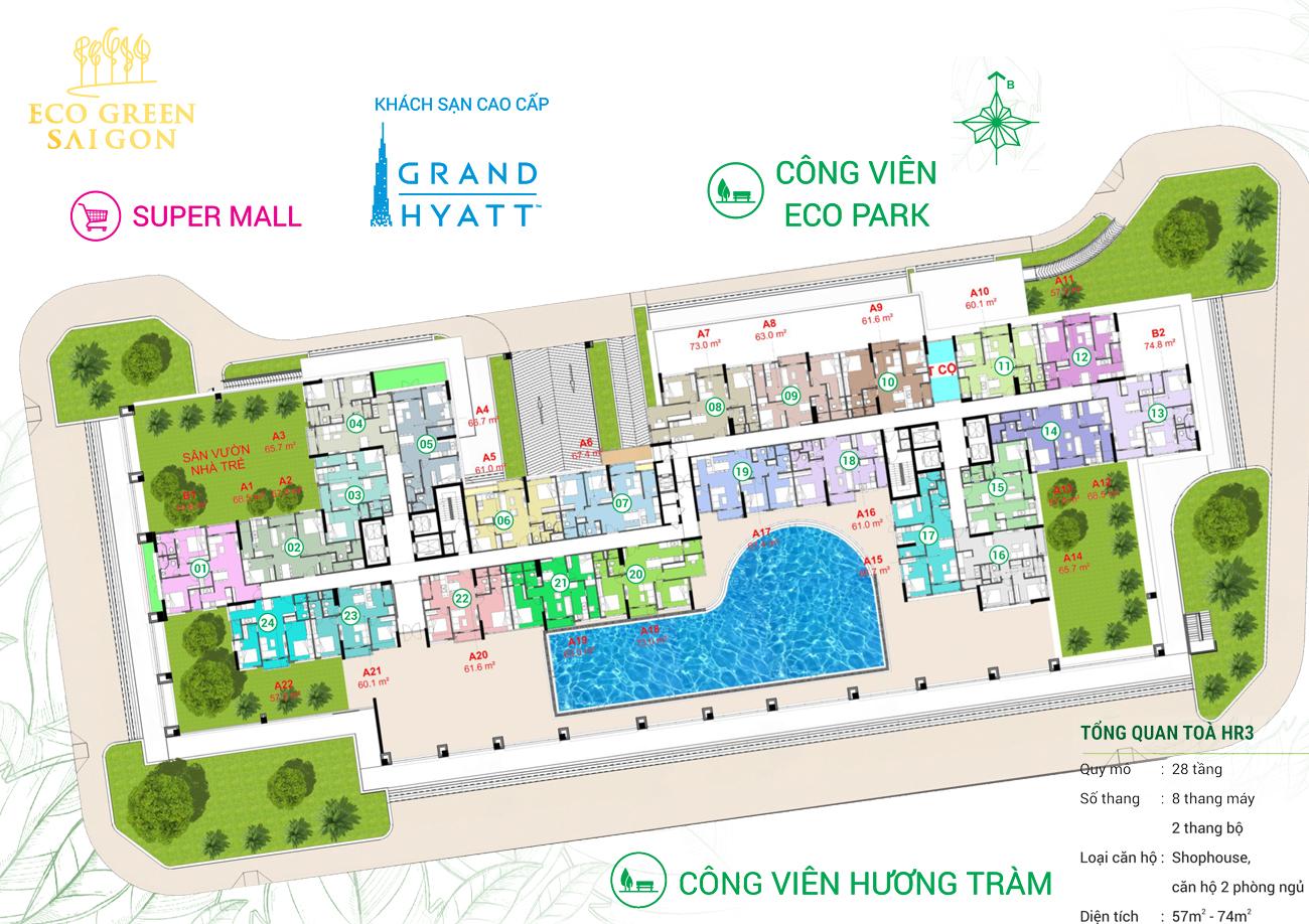 Mặt bằng tòa căn hộ HR3 Eco Green Saigon Quận 7