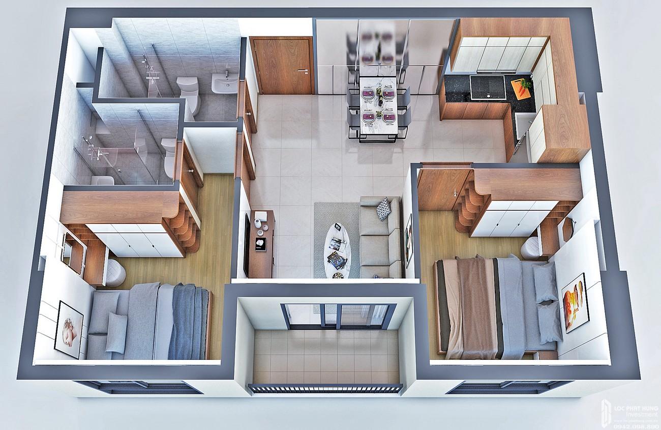 Thiết kế căn hộ loại A dự án Bcons Bee Dĩ An Đường Trần Đại Nghĩa chủ đầu tư Bcons