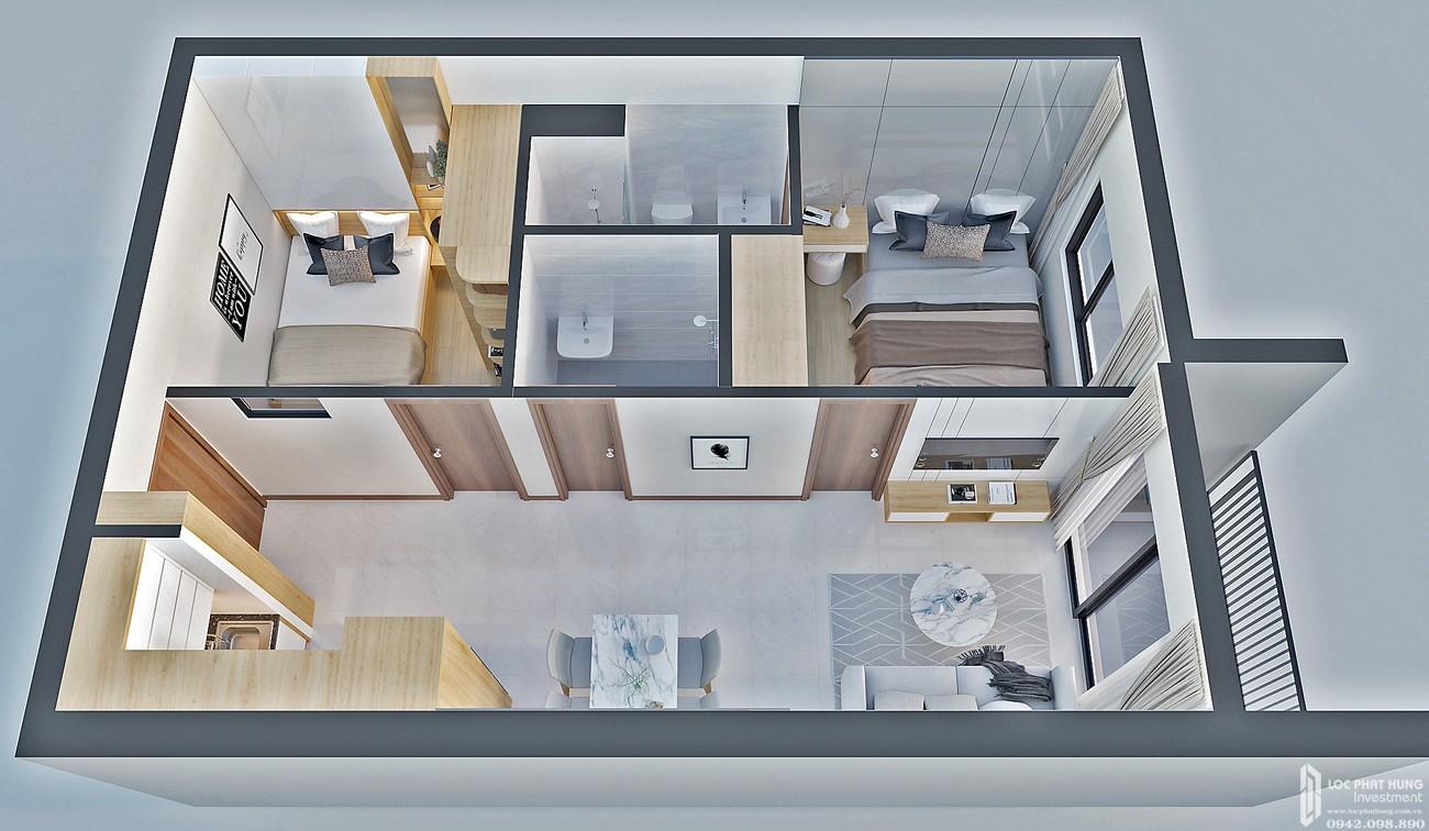Thiết kế căn hộ loại E Bcons Bee Dĩ An Đường Trần Đại Nghĩa chủ đầu tư Bcons