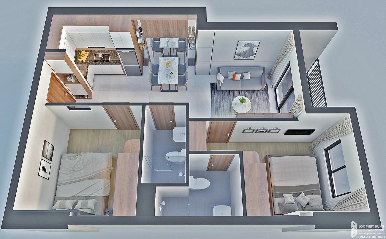 Thiết kế căn hộ loại F Bcons Bee Dĩ An Đường Trần Đại Nghĩa chủ đầu tư Bcons
