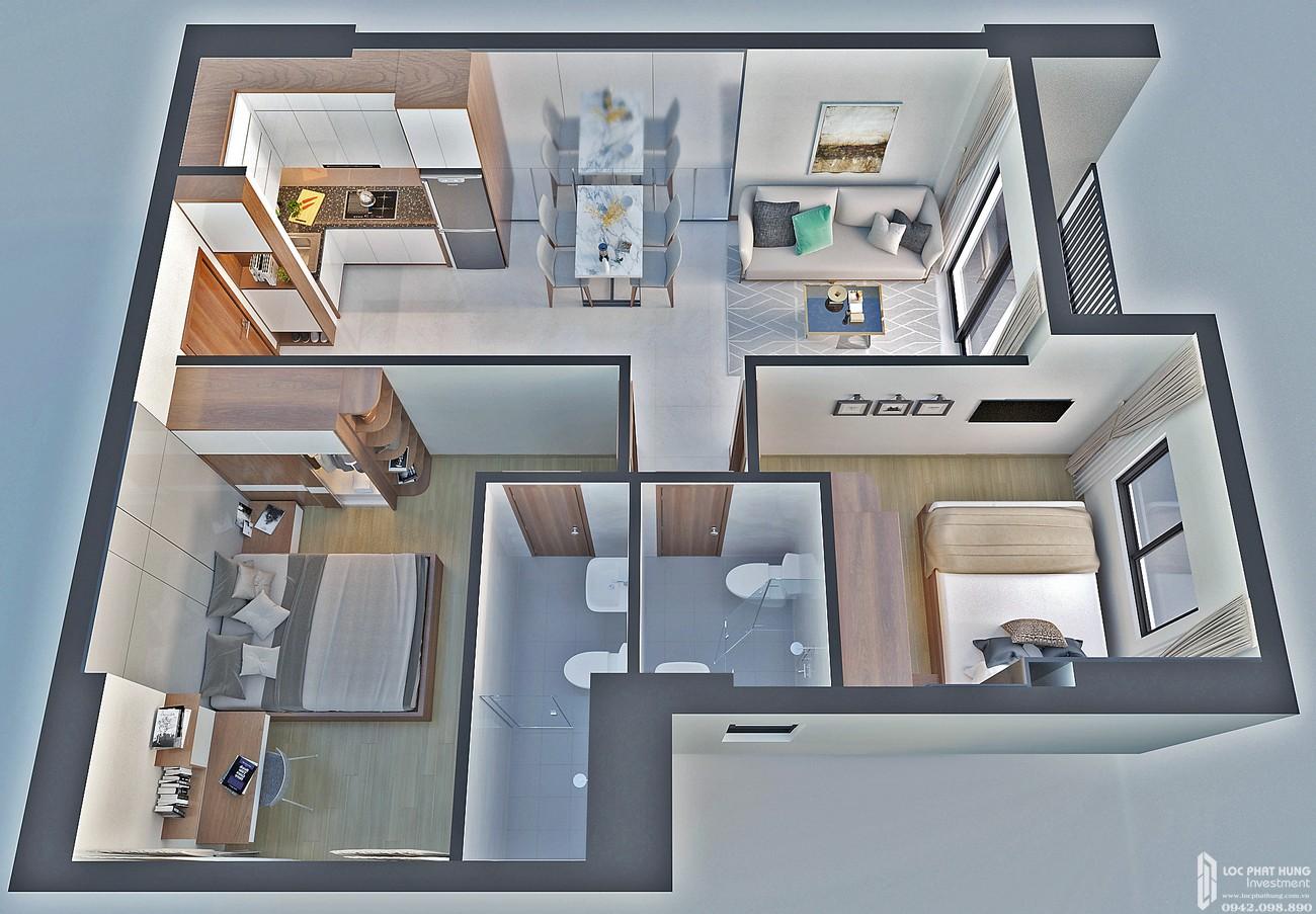 Thiết kế căn hộ loại H Bcons Bee Dĩ An Đường Trần Đại Nghĩa chủ đầu tư Bcons