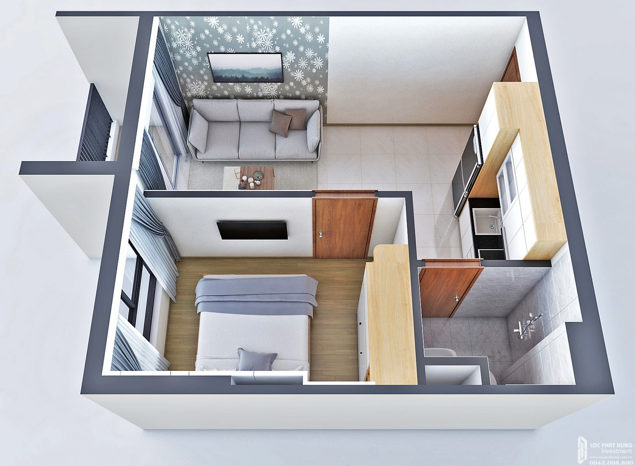 Thiết kế căn hộ loại C Bcons Bee Dĩ An Đường Trần Đại Nghĩa chủ đầu tư Bcons