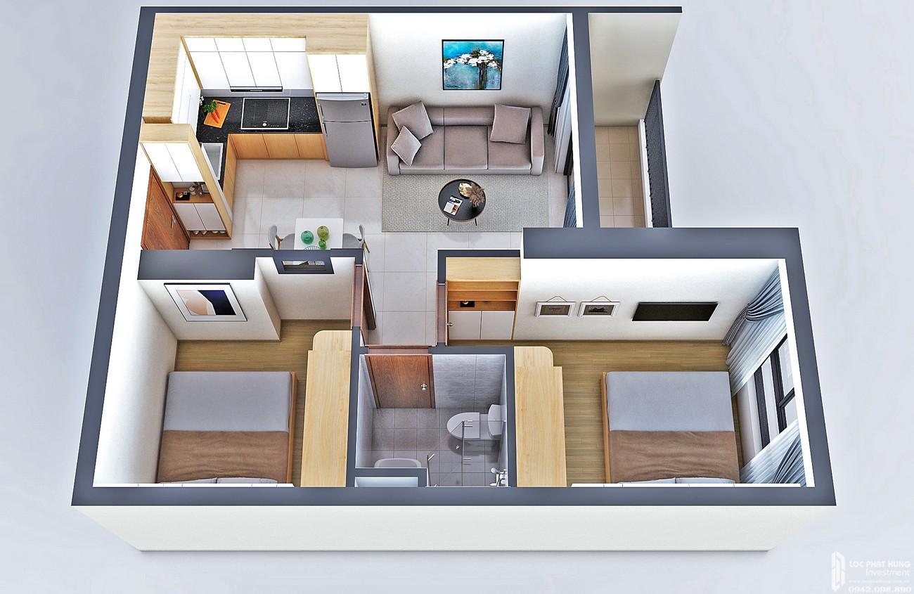 Thiết kế căn hộ loại D Bcons Bee Dĩ An Đường Trần Đại Nghĩa chủ đầu tư Bcons