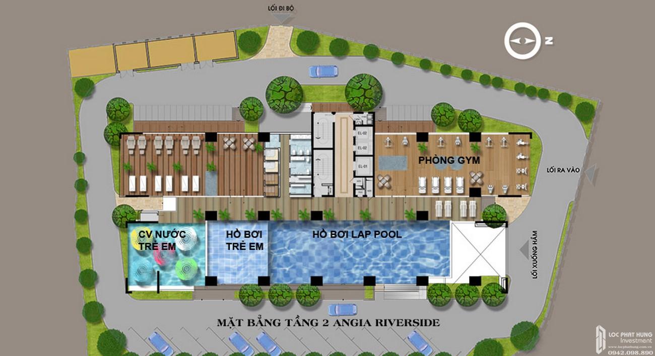 Mặt bằng tầng 2 dự án căn hộ chung cư Riverside Quận 7 Đường Đào Trí chủ đầu tư An Gia Investment