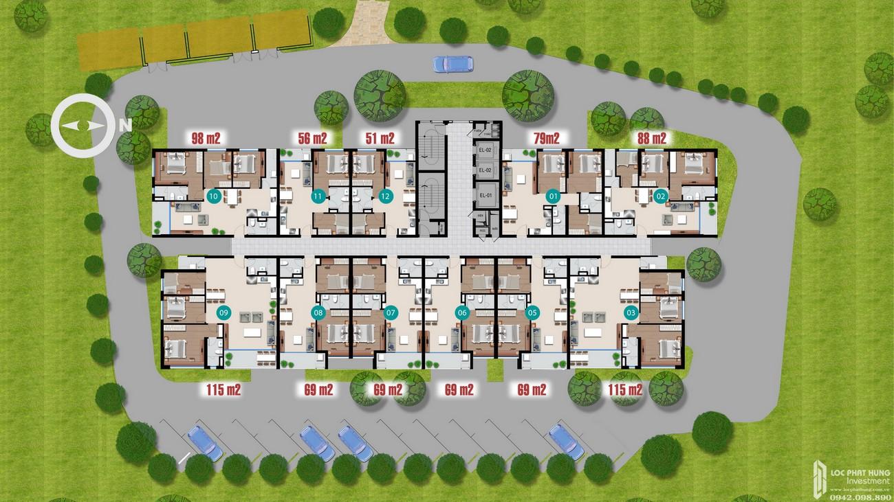 Mặt bằng căn hộ dự án căn hộ chung cư Riverside Quận 7 Đường Đào Trí chủ đầu tư An Gia Investment