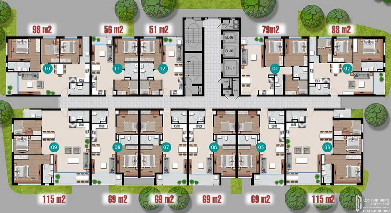Mặt bằngtầng 1 dự án căn hộ chung cư Riverside Quận 7 Đường Đào Trí chủ đầu tư An Gia Investment