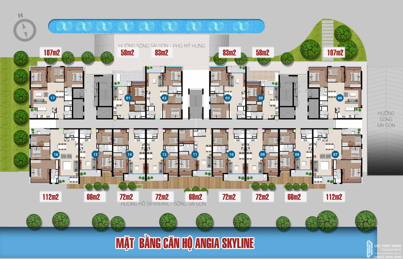 Mặt bằng tầng điển hình dự án căn hộ chung cư Skyline Quận 7 Đường Hoàng Quốc Việt chủ đầu tư An Gia