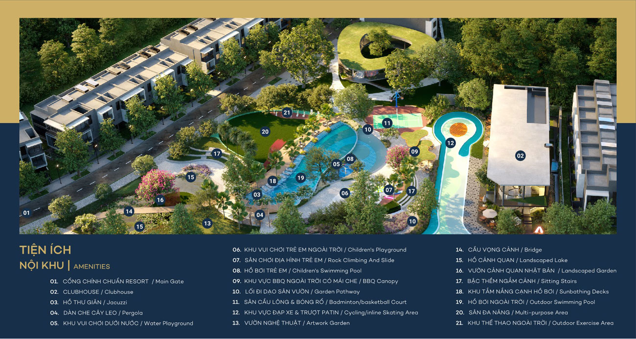 Mặt bằng bố trí tiện ích dự án nhà phố The Standard Central Park Tân Uyên Bình Dương