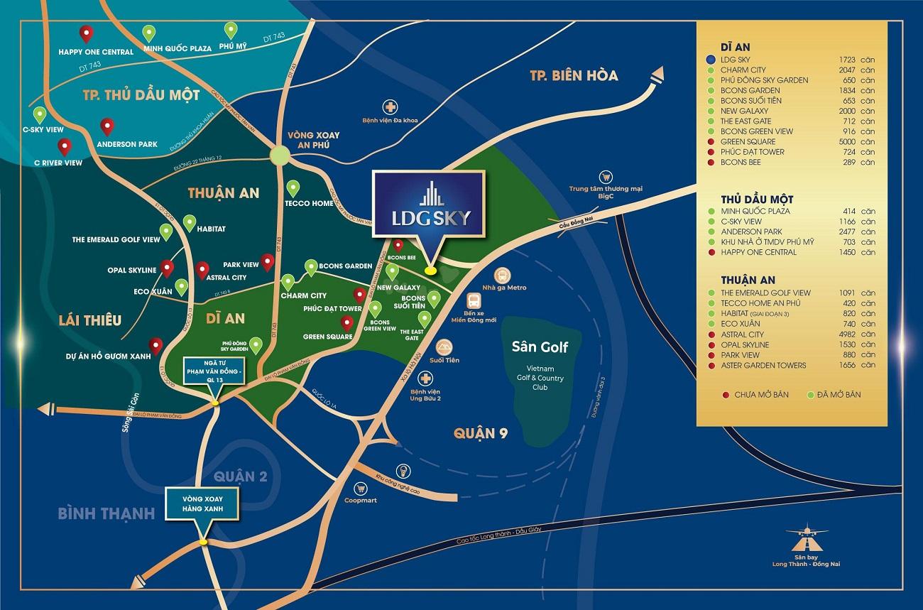 Vị trí địa chỉ dự án căn hộ LDG Sky toạ lạc tại mặt tiền đường KDC Bình Nguyên (Thành phố Dĩ An, Tỉnh Bình Dương)