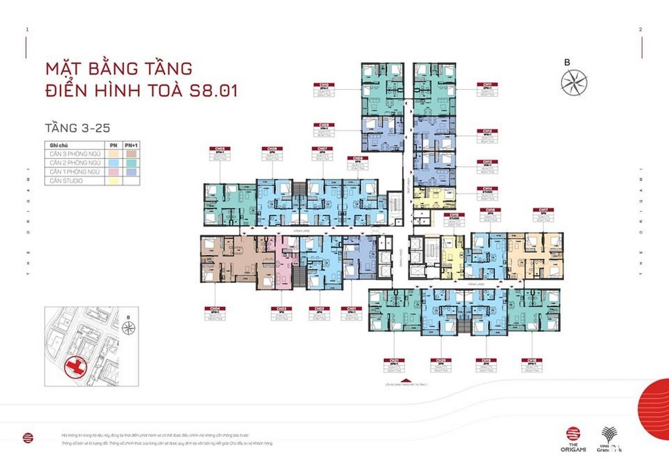 Mặt bằng dự án căn hộ chung cư The Origami Quận 9 Đường Nguyễn Xiển chủ đầu tư Vingroup