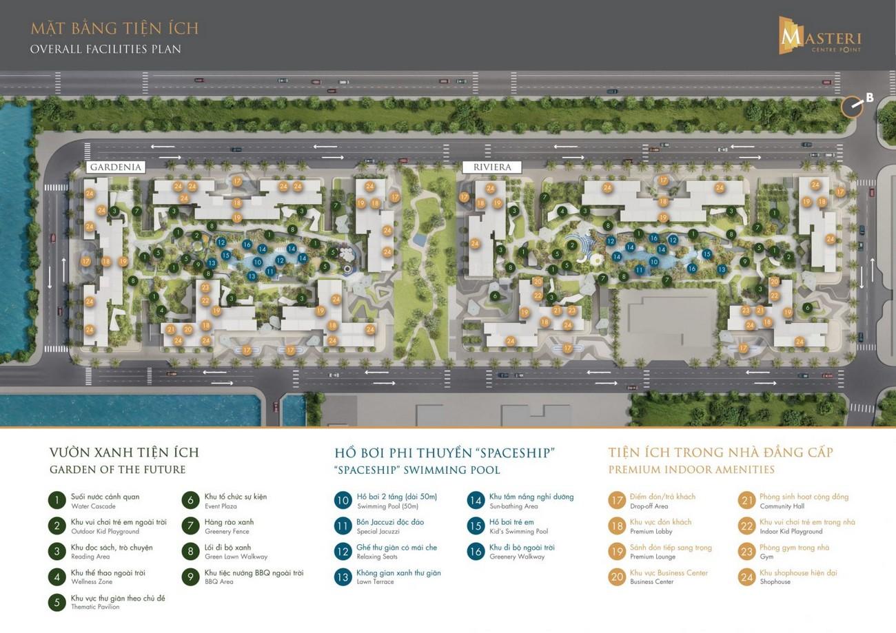 Mặt bằng tiện ích dự án Masteri Centre Point Quận 9