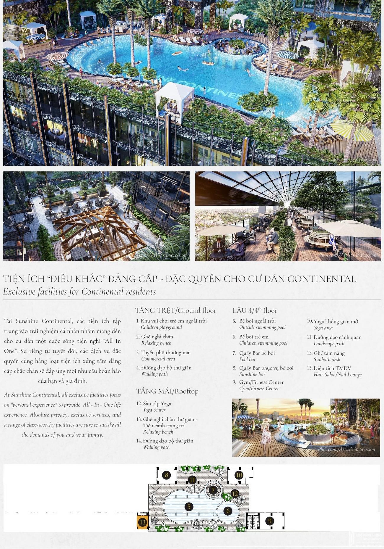 Tiện ích dự án căn hộ chung cư Sunshine Continental Quận 10 Đường Tô Hiến Thành chủ đầu tư Sunshine Group