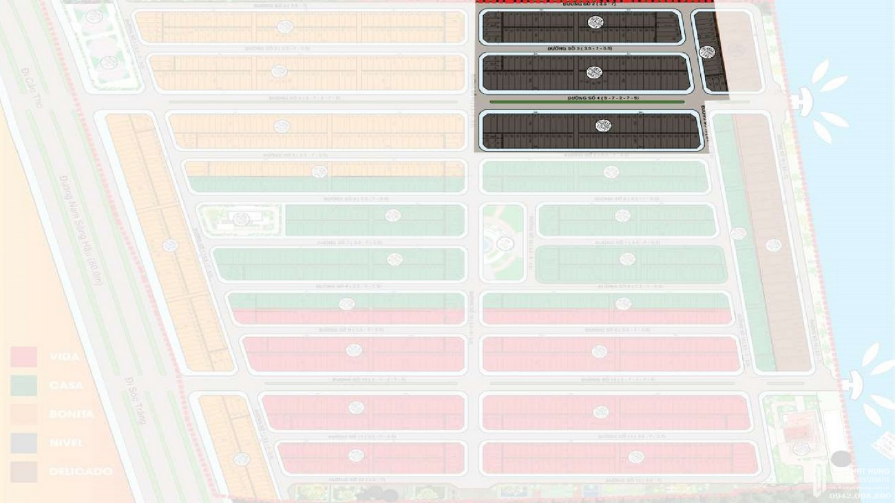 Mặt bằng dự án đất nền Fenix City Châu Thành Đường Nam Sông Hậu