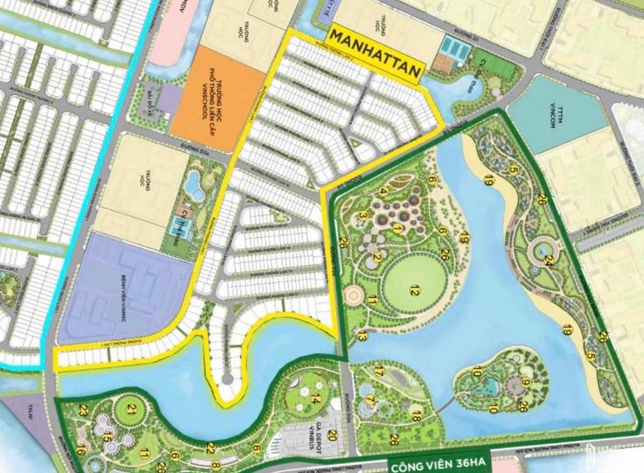 Mặt bằng dự án nhà phố The Manhattan Quận 9 Đường Nguyễn Xiển  chủ đầu tư Vingroup