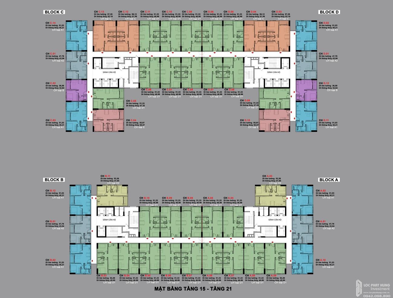 Mặt bằng tầng 15-21 căn hộ BCONS PLAZA